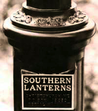 Lantern base support, with name plate.